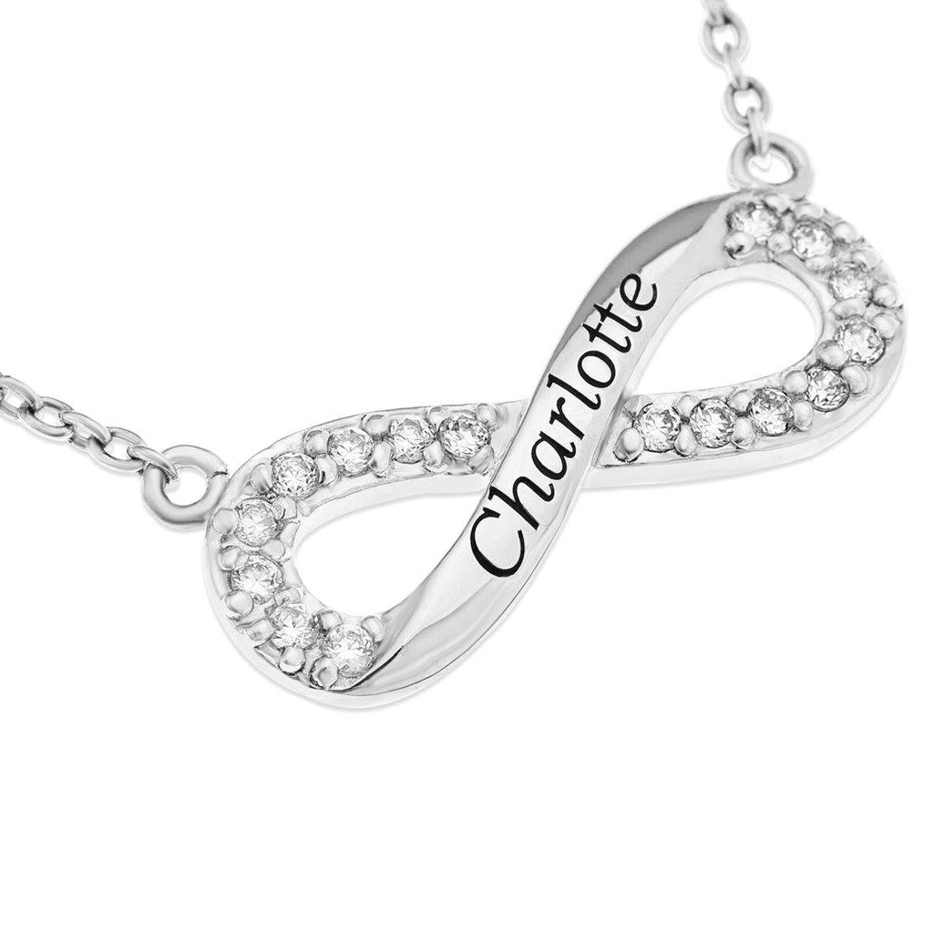 Personalised Sterling Silver Infinity Necklace