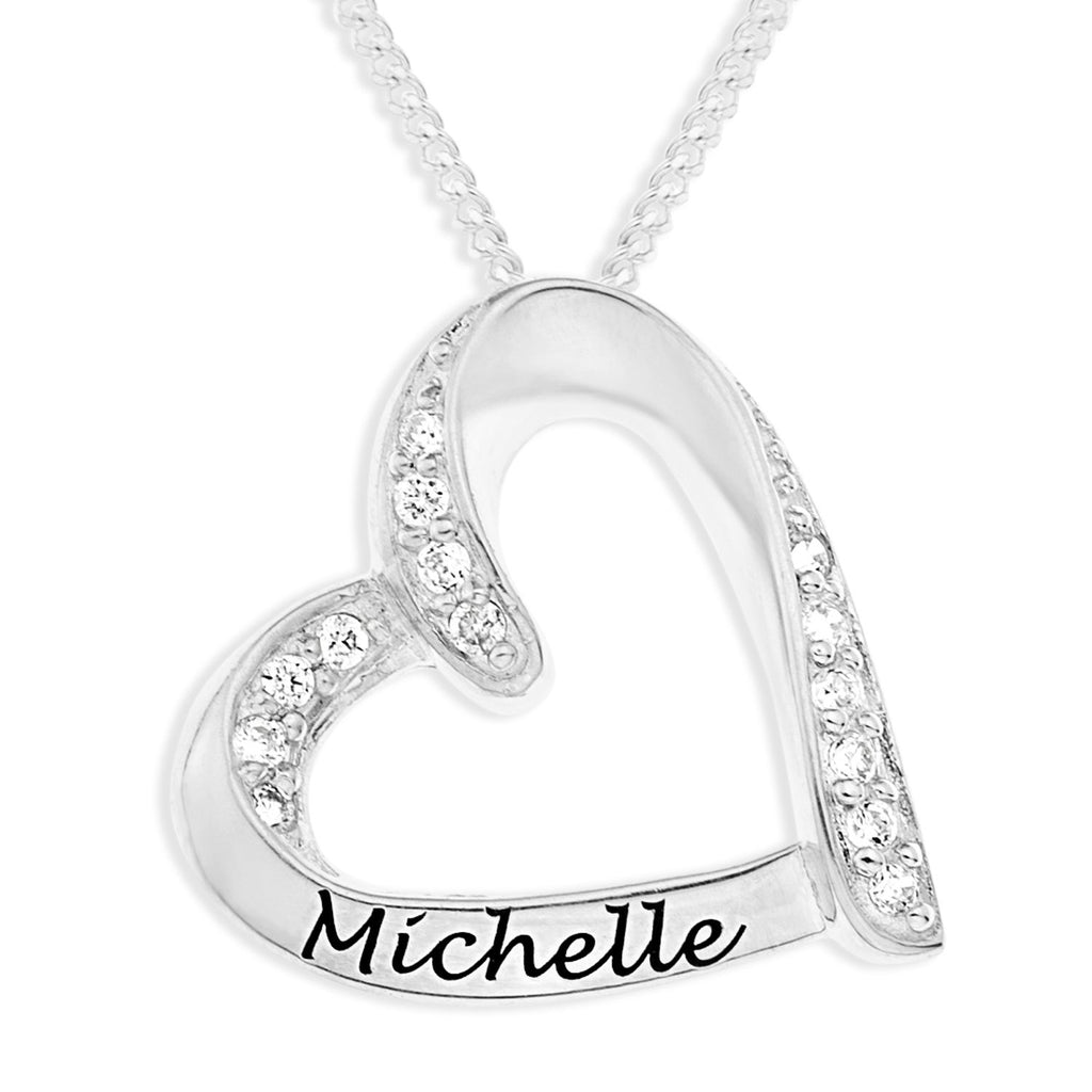 Sterling Silver Personalised Heart Necklace Necklaces Bevilles