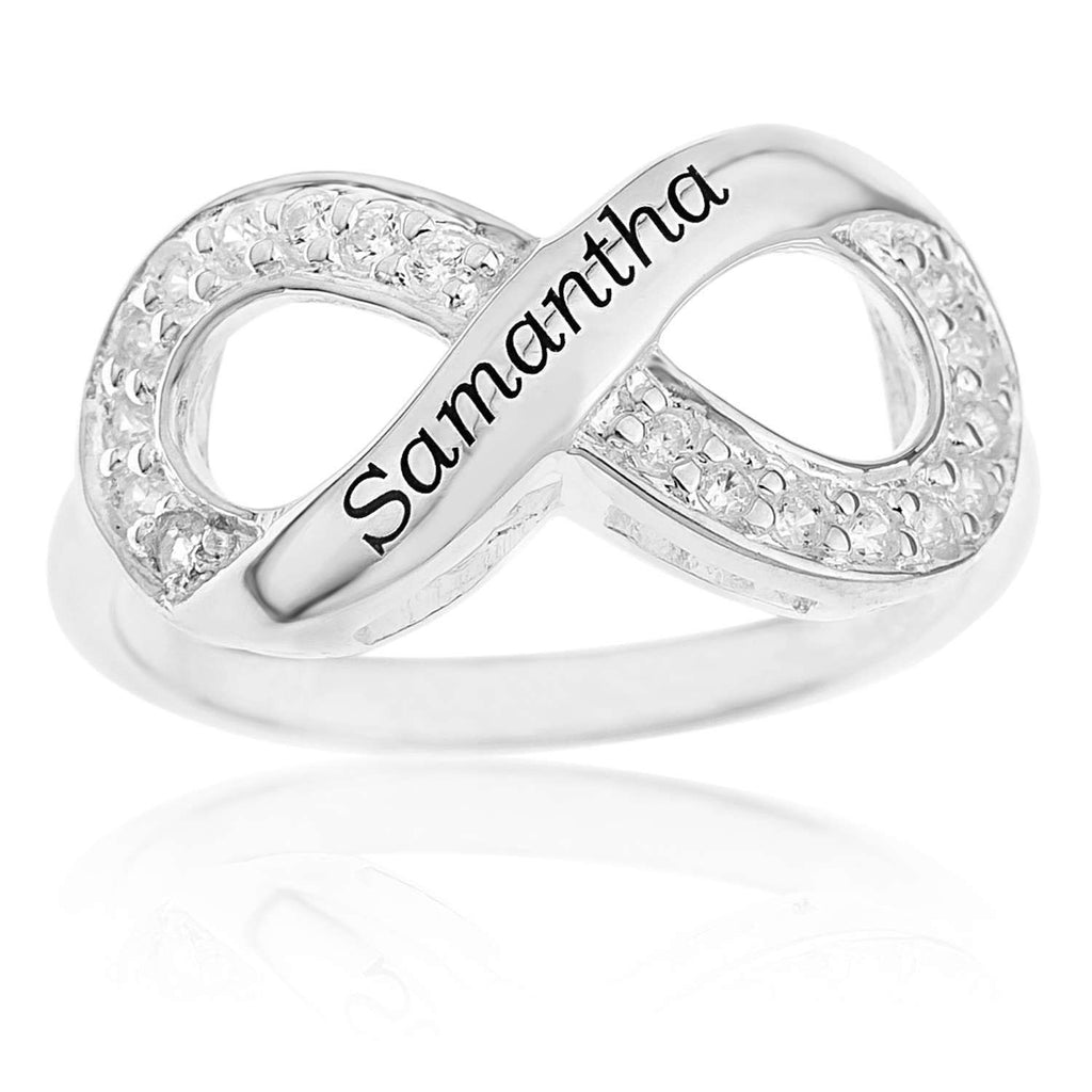 Sterling Silver Personalised Cubic Zirconia Infinity Ring Rings Bevilles