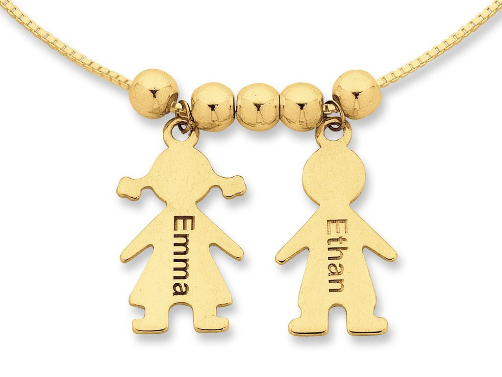 Personalised Child Charm Necklace 9ct Yellow Gold