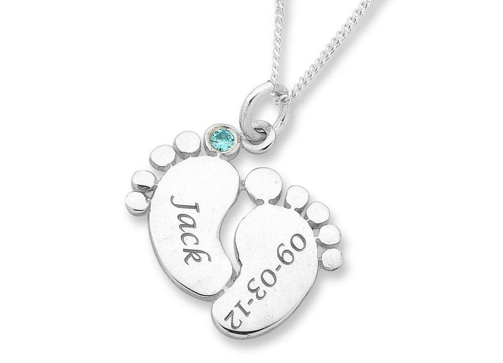 Personalised Baby Feet Necklace Sterling Silver