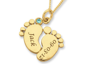 Personalised Baby Feet Necklace 9ct Yellow Gold