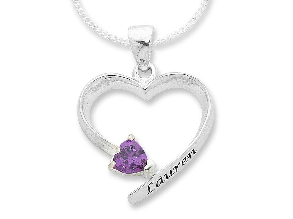Personalised Sterling Silver Open Heart Necklace with Birthstone