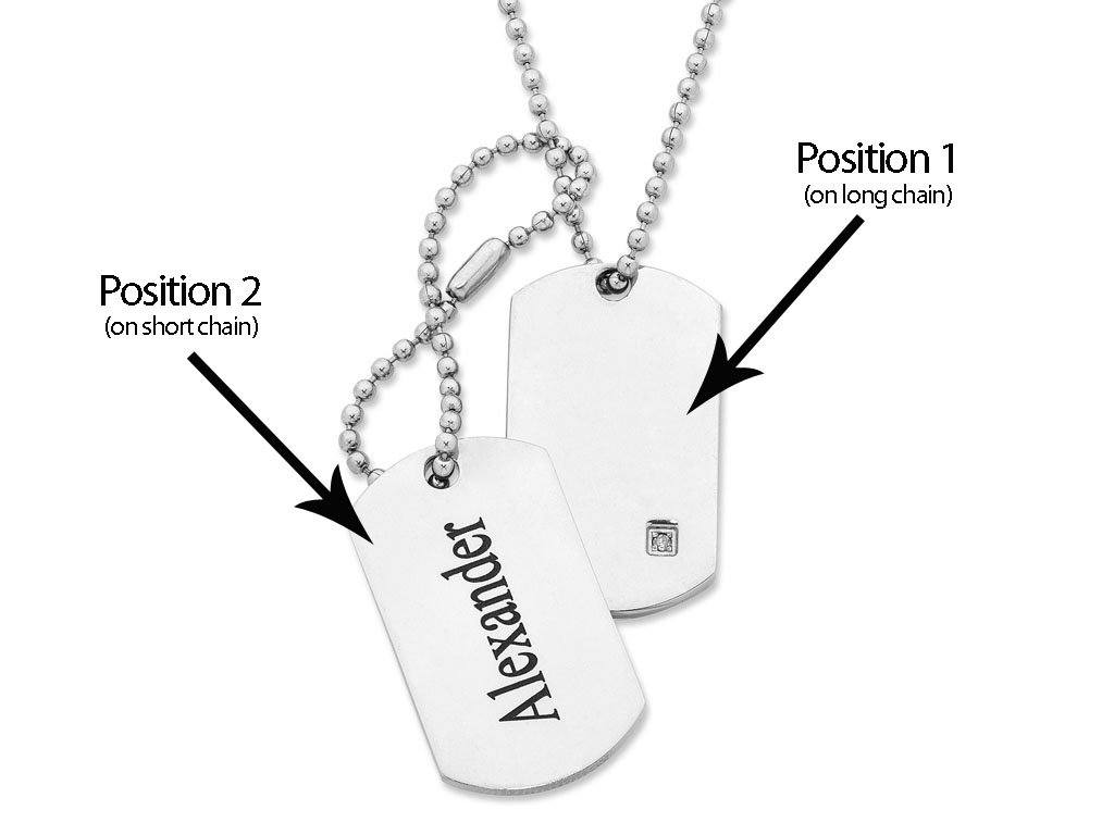 Personalised Diamond Set Dog Tags Necklaces Bevilles