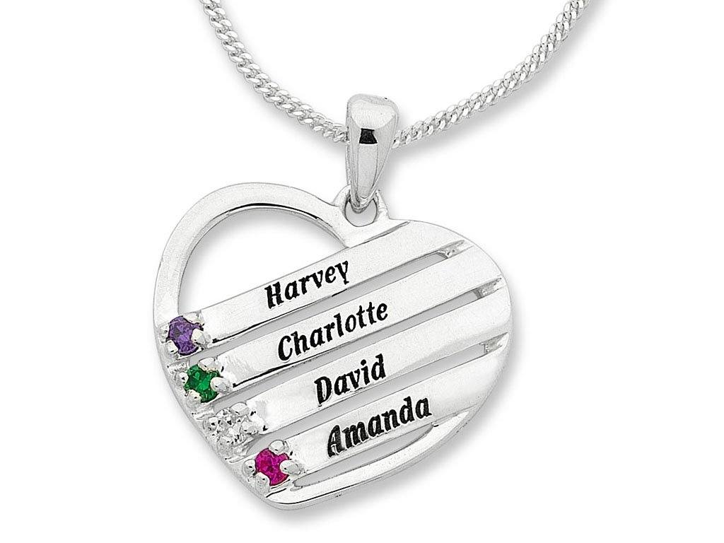 Personalised Sterling Silver Heart Shape Birthstone Name Necklace Necklaces Bevilles