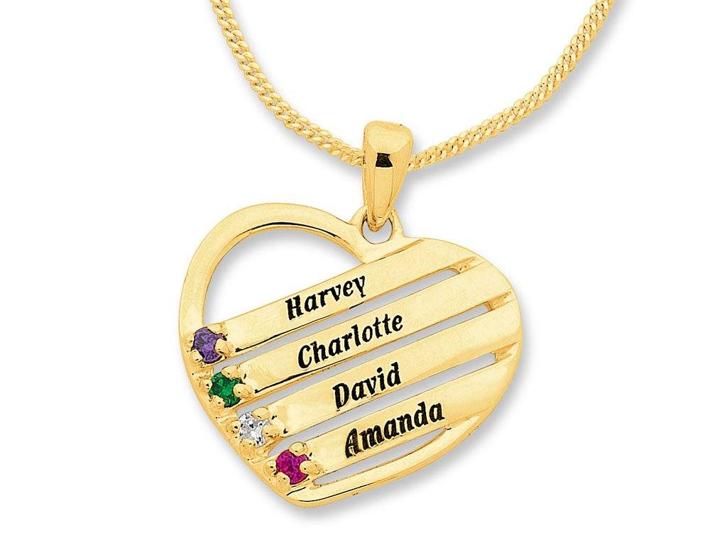 Personalised Heart Shape Birthstone Name Necklace 9ct Gold