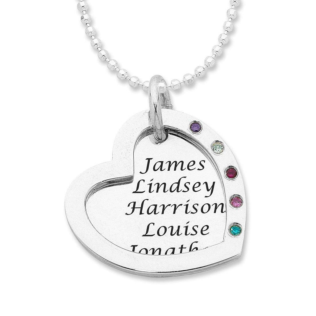 Personalised Sterling Silver Open Heart Necklace Necklaces Bevilles