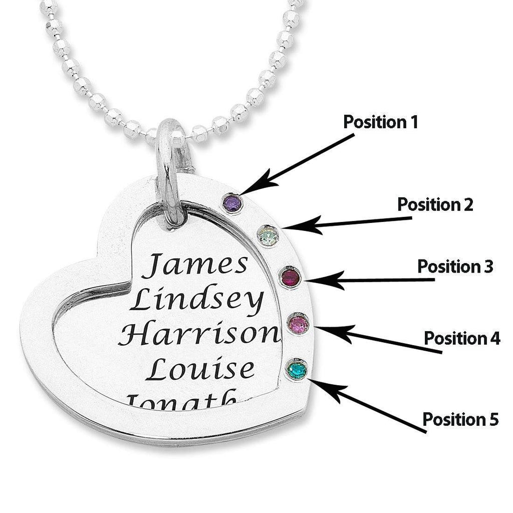 Personalised Sterling Silver Open Heart Necklace
