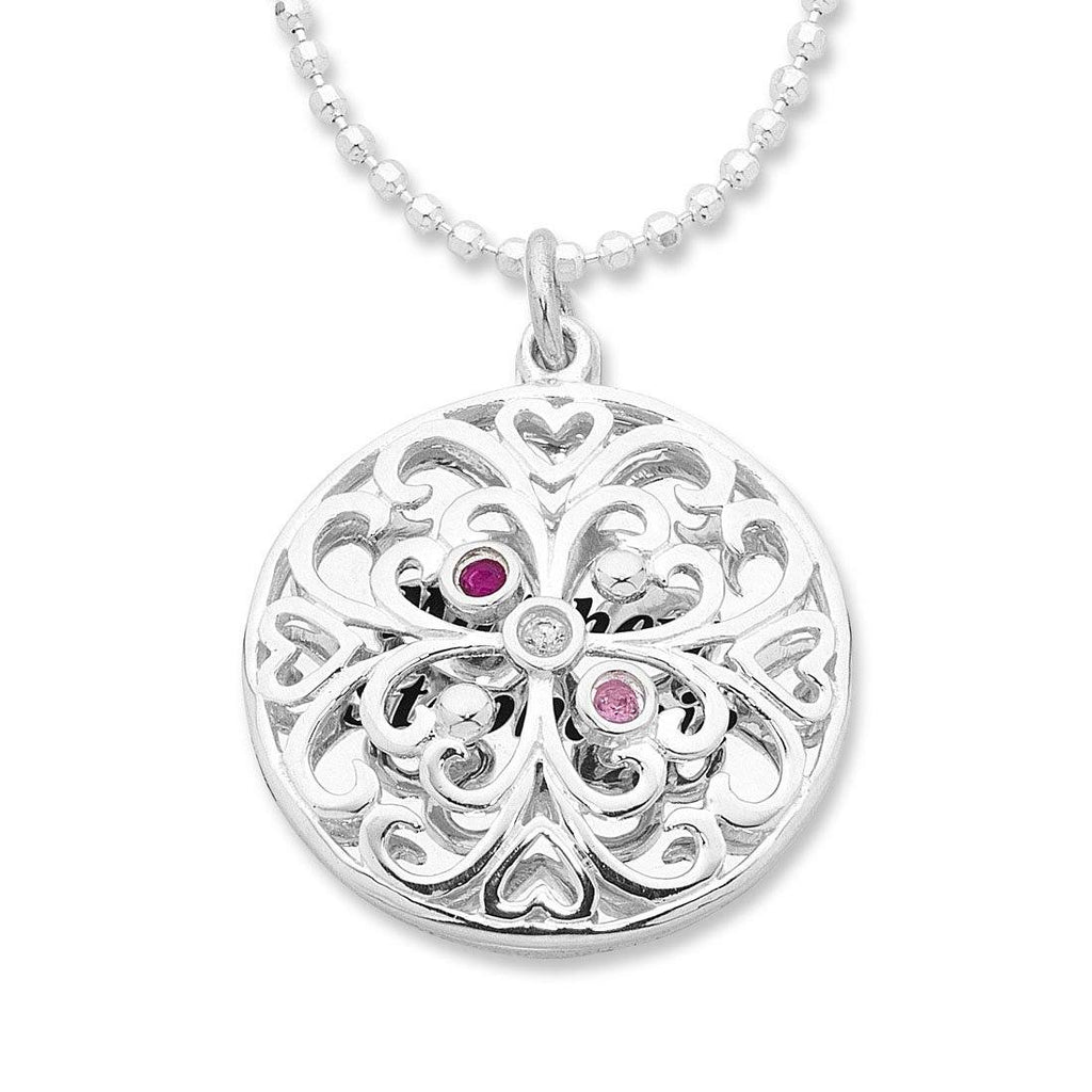 Personalised Medium Sterling Silver Heart Filigree Necklace