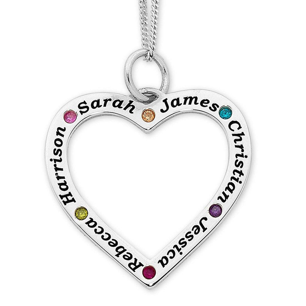 Personalised Sterling Silver Large Heart Necklace Necklaces Bevilles
