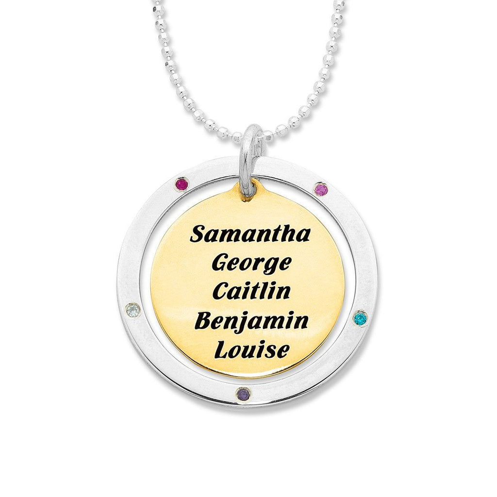 9ct Yellow Gold and Sterling Silver Personalised 2 Tone Disc Necklace