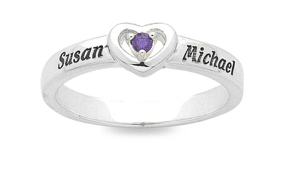 Personalised Sterling Silver Heart Birthstone Name Ring