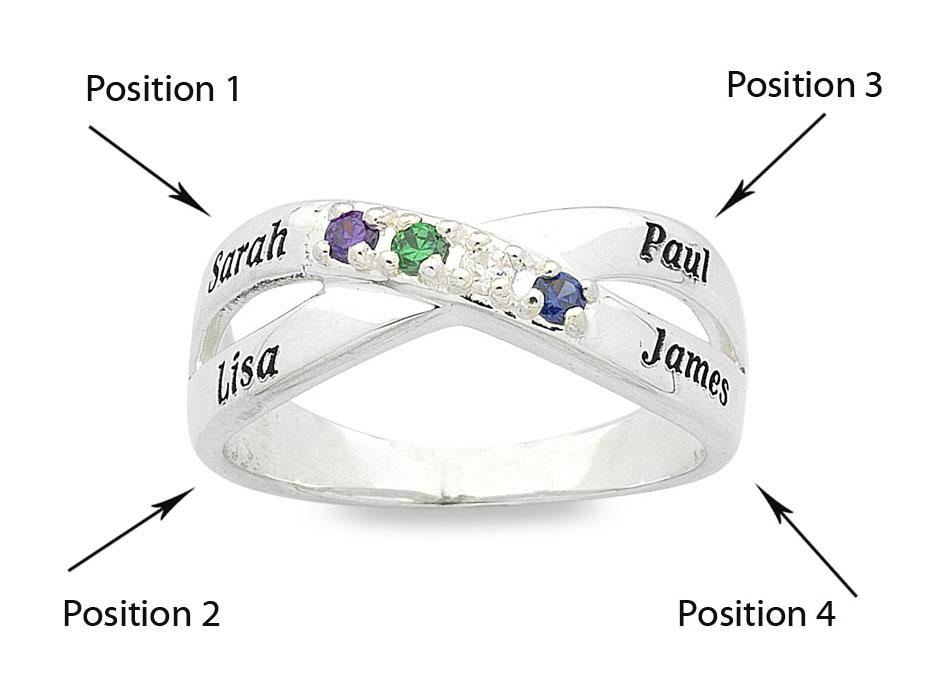 Personalised Sterling Silver Cross Over Birthstone Name Ring Rings Bevilles