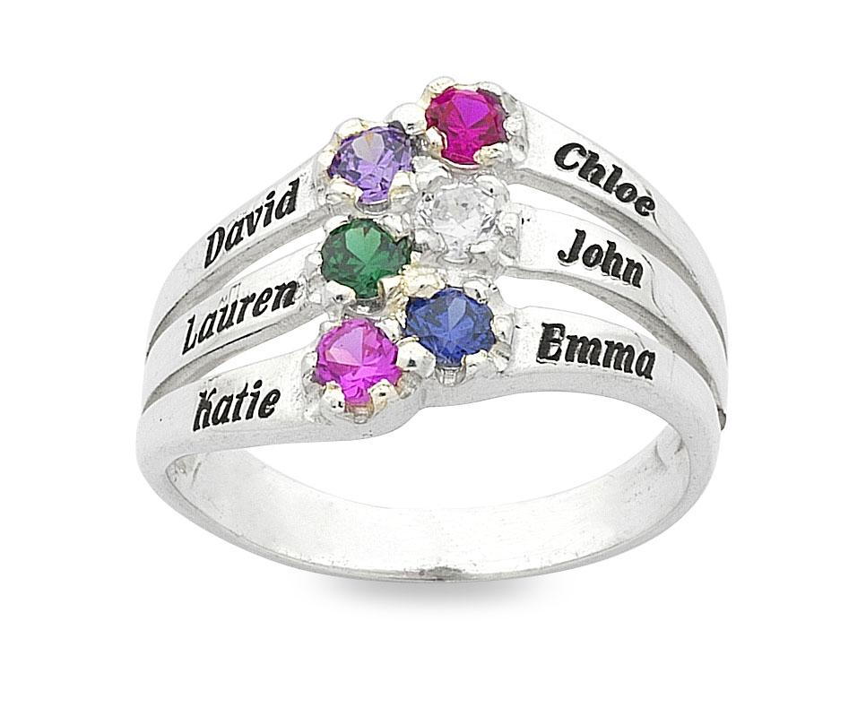 Personalised Sterling Silver 6 Birthstone Name Ring