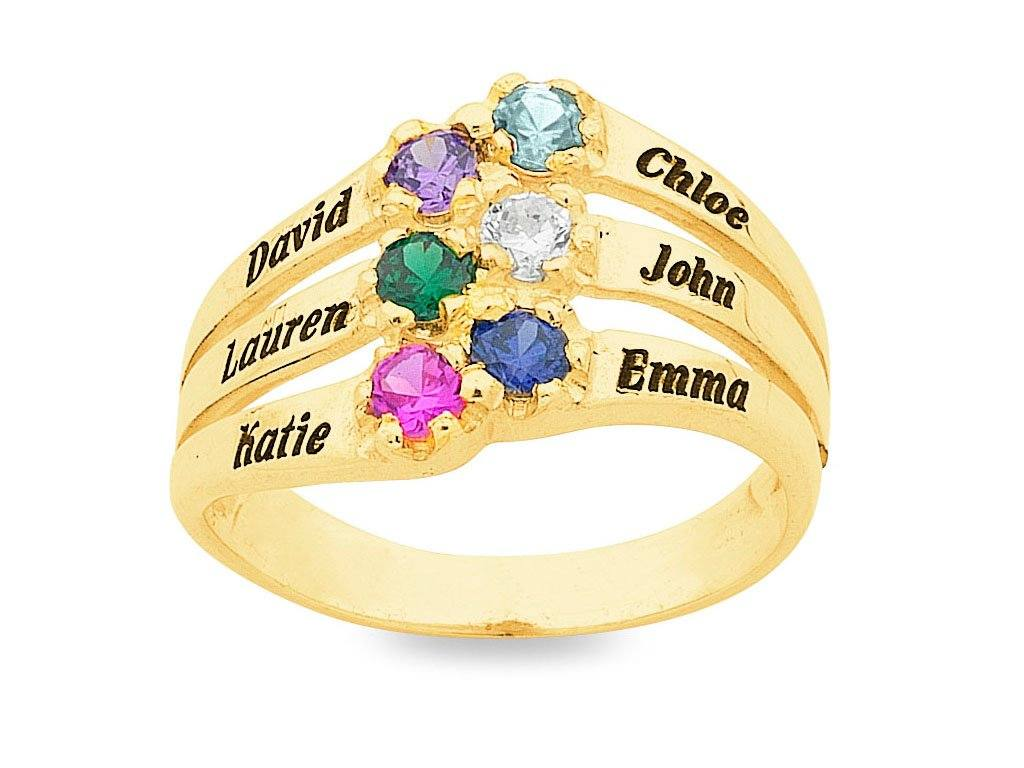 Personalised 6 Birthstone Name Ring 9ct Gold Rings Bevilles