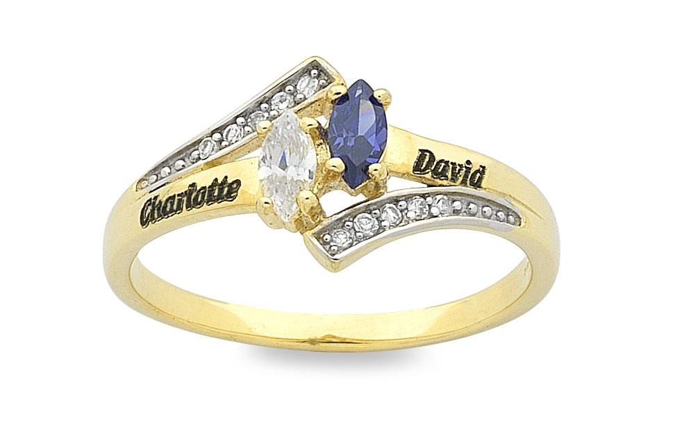 Personalised 9ct Yellow Gold Birthstone Name Ring Rings Bevilles