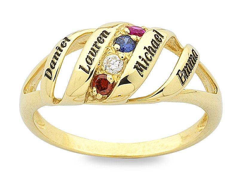 Personalised 4 Birthstone Name Ring 9ct Yellow Gold