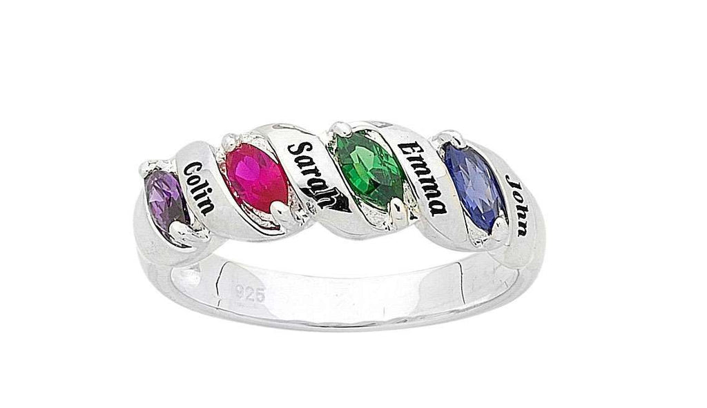 Personalised 4 Birthstone Name Ring Sterling Silver