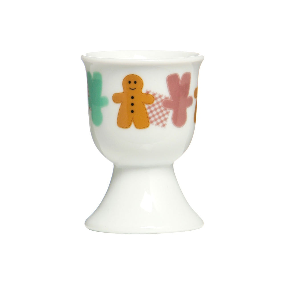 EGG CUPS SET x 2 WITH GINGERBREAD MAN DESIGN
