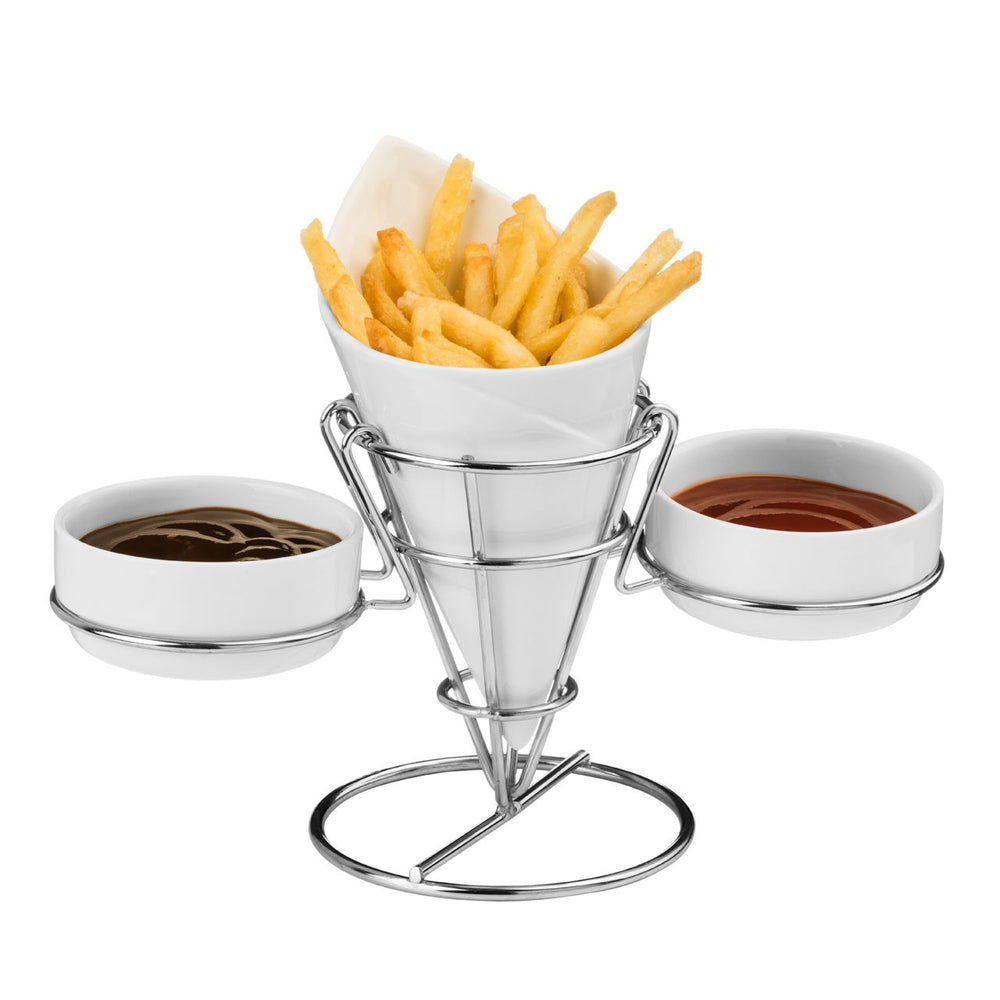 CERAMIC FRENCH FRY CONE W/2 DIP DISHES
