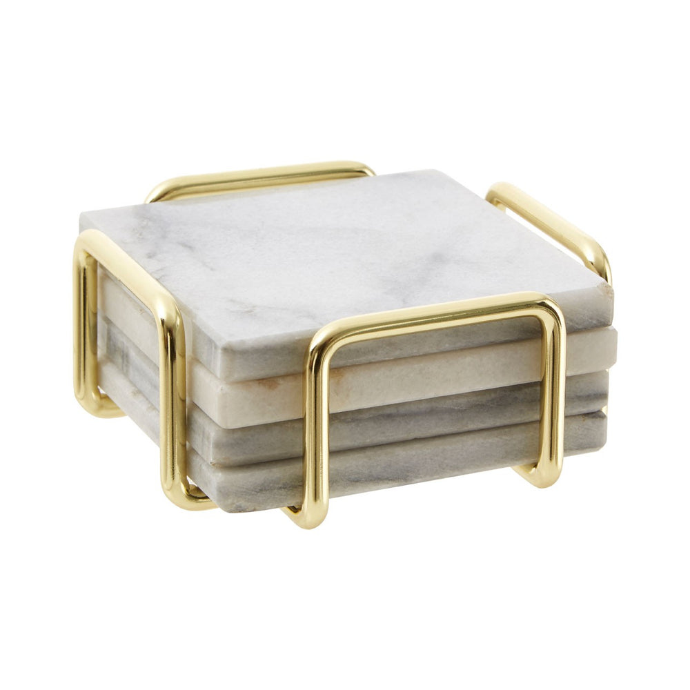 WHITE MARBLE BRASS COASTERS SET OF 4