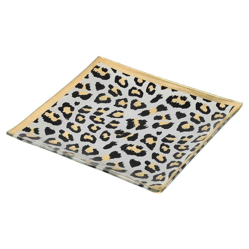 LEOPARD PRINT TRINKET GLASS TRAY