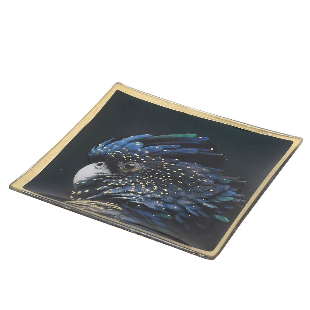 PARROT PRINT TRINKET GLASS TRAY