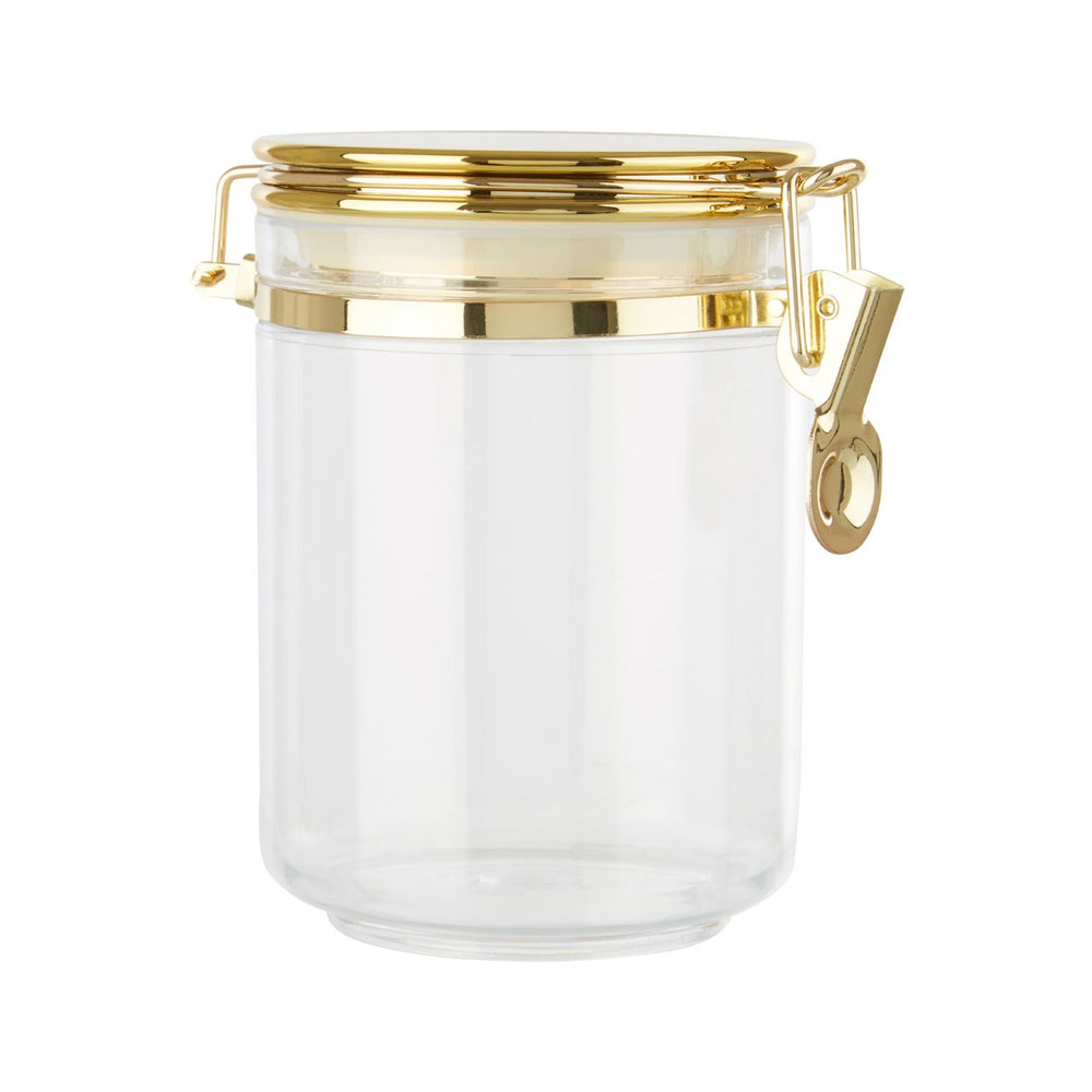 LARGE TRANSPARENT STORAGE JAR WITH GOLD AIRTIGHT LID