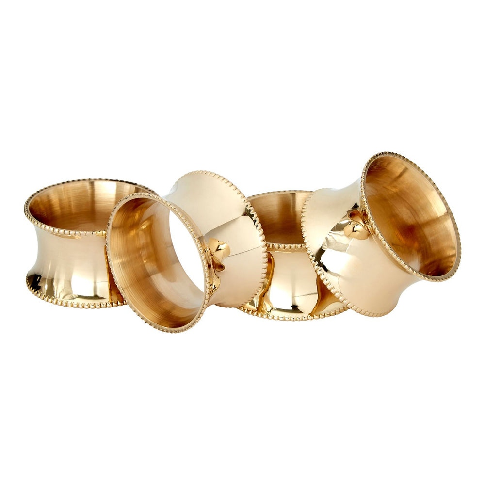 BRASS NAPKIN RINGS WITH BEADED EDGE DESIGN X 4 SET