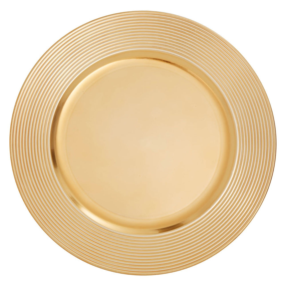 GOLD FINISH RIBBED CHARGER PLATE SET OF 2