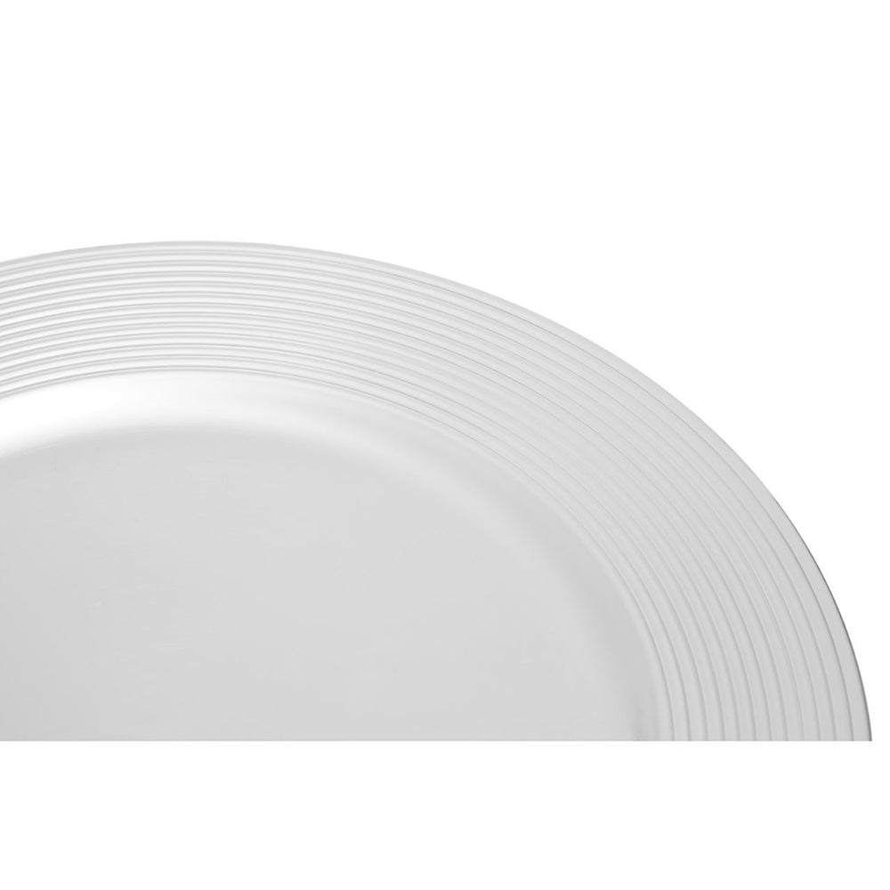 SILVER FINISH RIBBED CHARGER PLATE SET OF 2