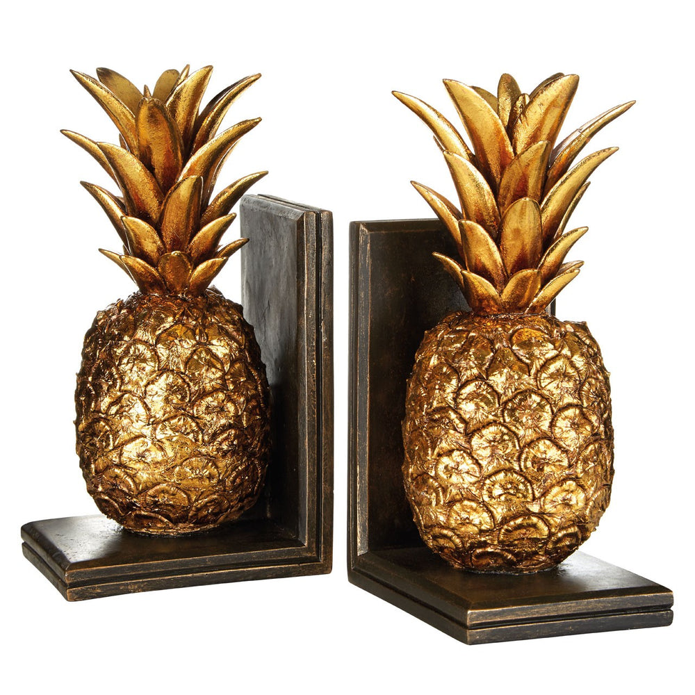 GOLDEN PINEAPPLE BOOKENDS SET/2