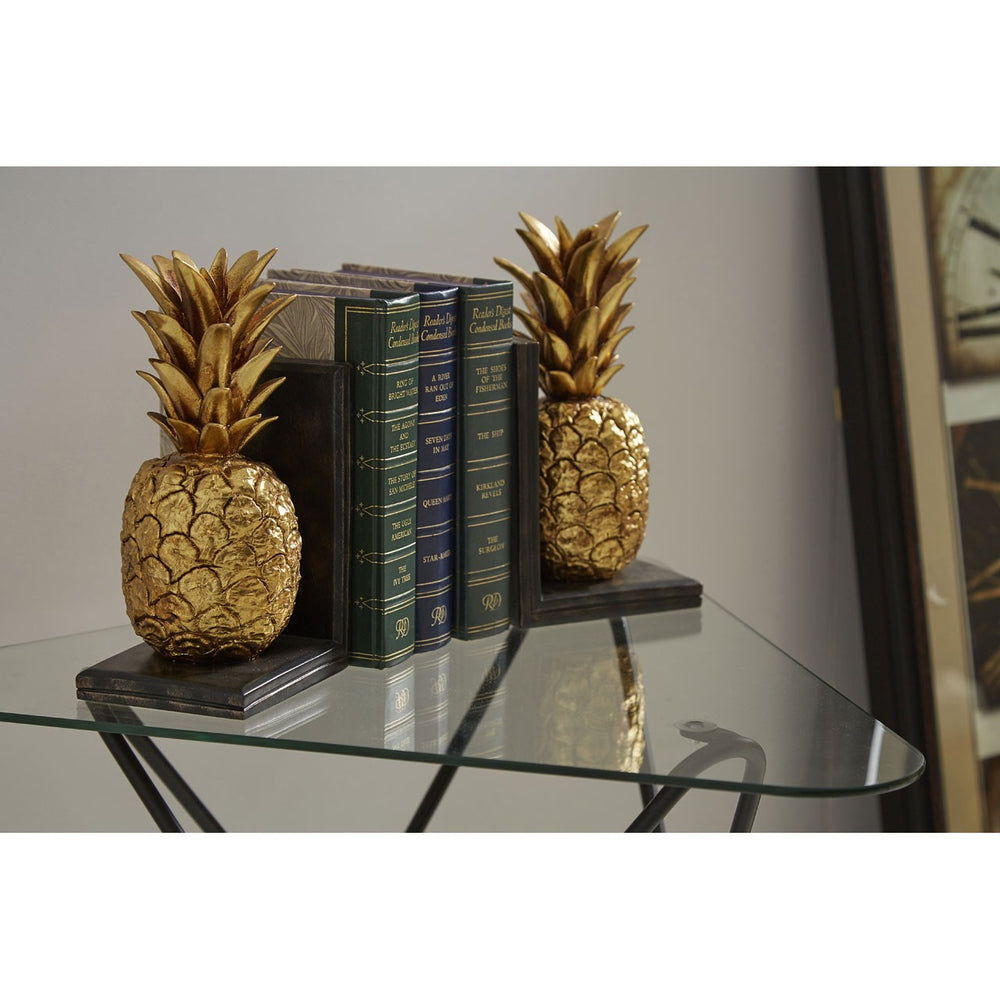 GOLDEN PINEAPPLE BOOKENDS PAIR