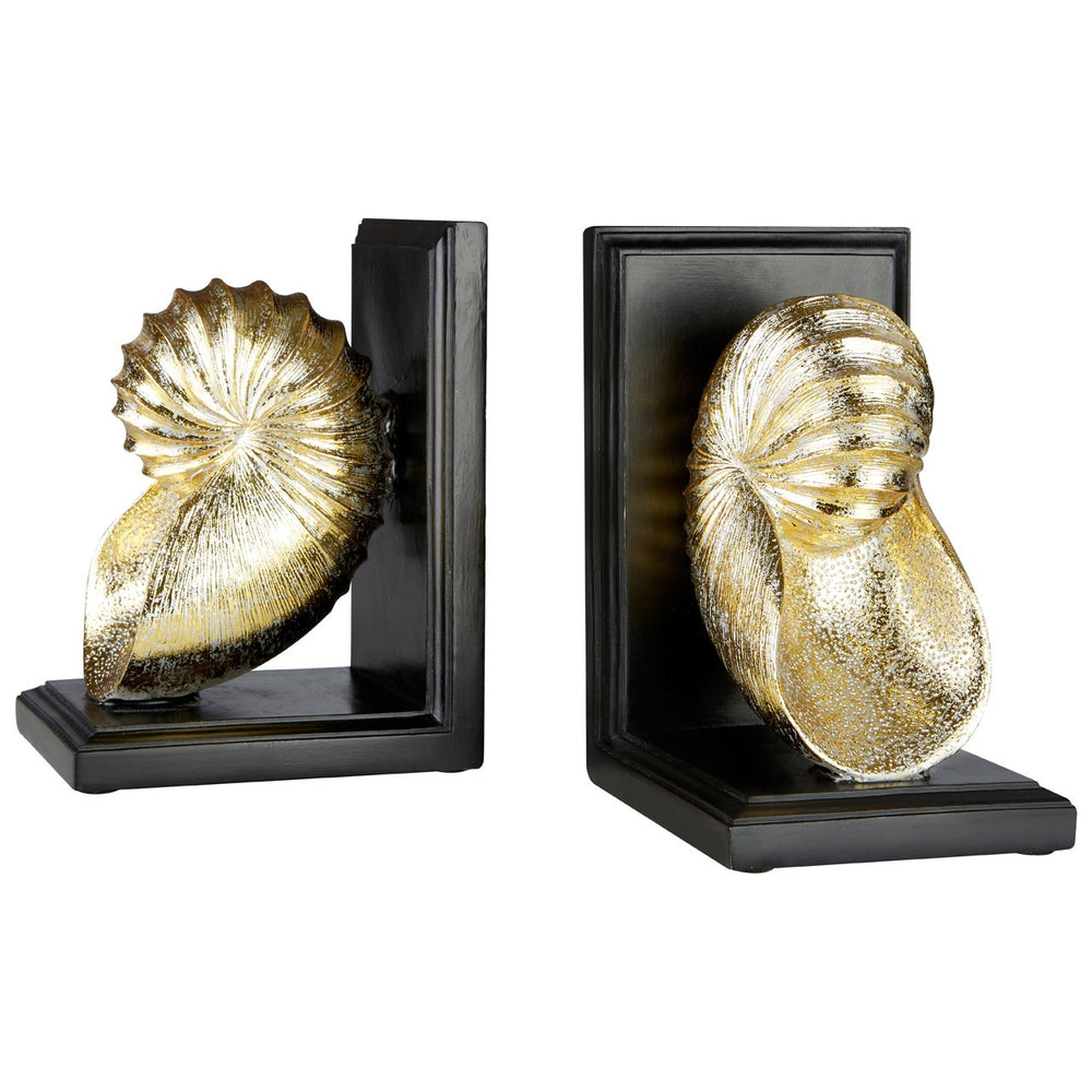 GOLDEN SEASHELL BOOKENDS