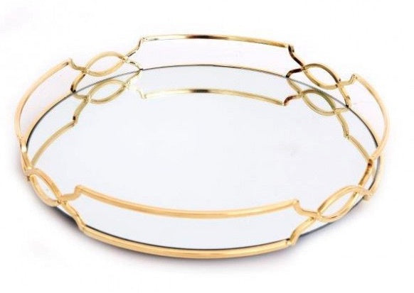 GOLD MIRRORED ROUND GATSBY TRAY