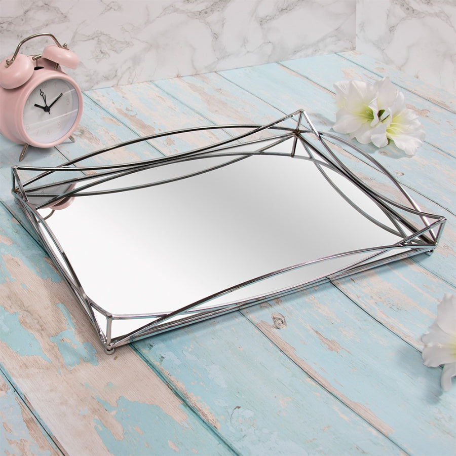 SILVER GATSBY RECTANGULAR MIRROR TRAY