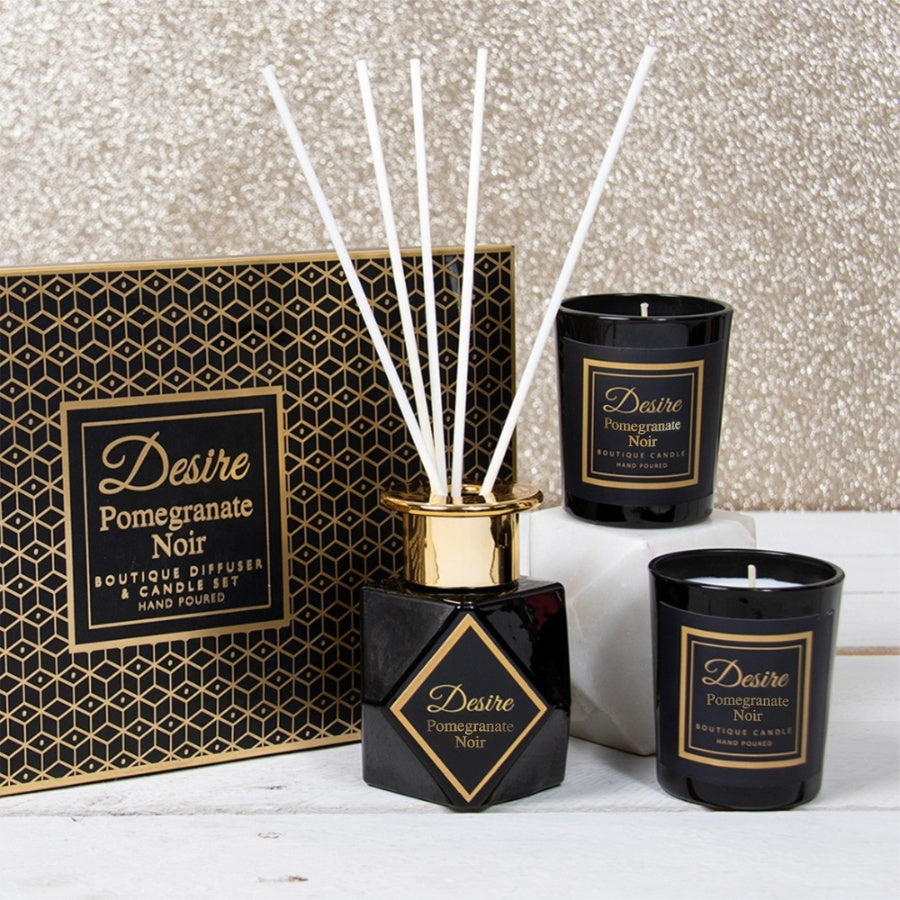 DESIRE BOUTIQUE DIFFUSER & CANDLE SET - POMEGRANATE NOIR