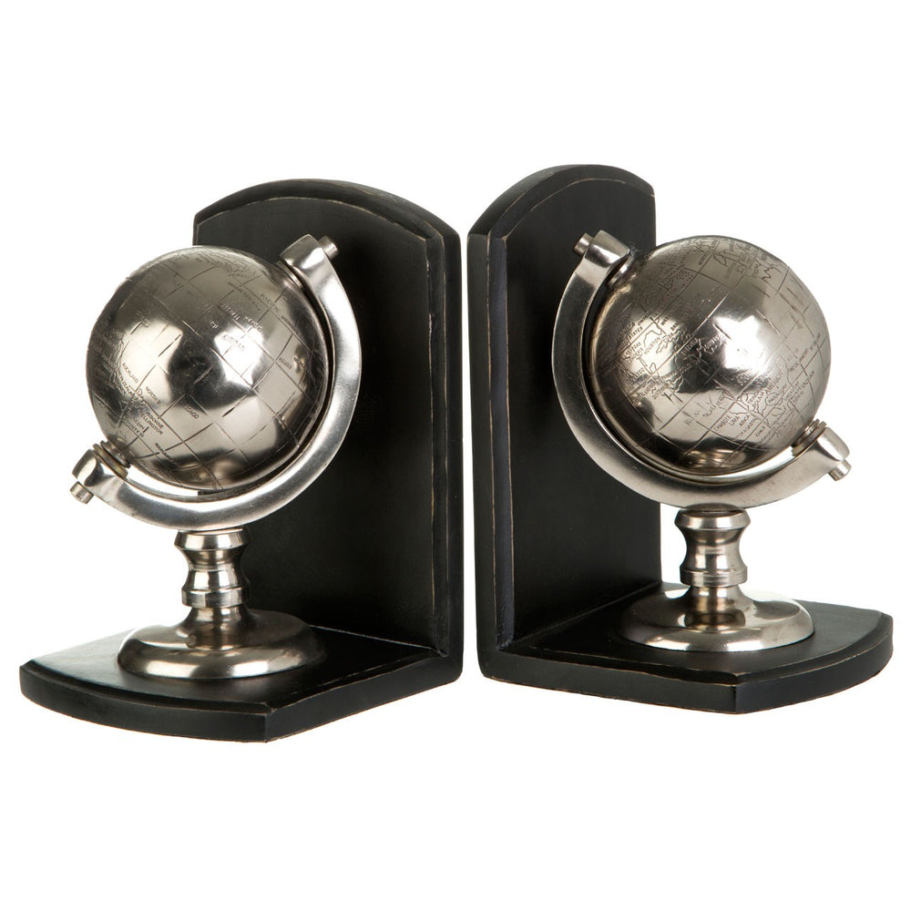 SILVER GLOBE BOOKENDS PAIR