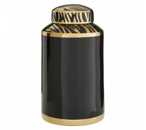 BLACK & GOLD CERAMIC JAR