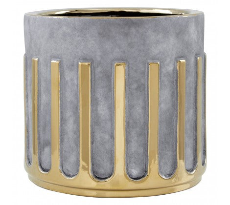 GREY AND SILVER LARGE CERAMIC PLANTER