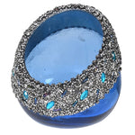 BEADED GLASS BLUE VOTIVE