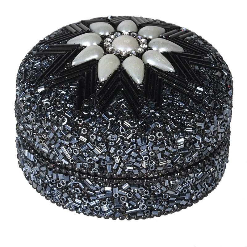 Black bead and Pearl trinket Box