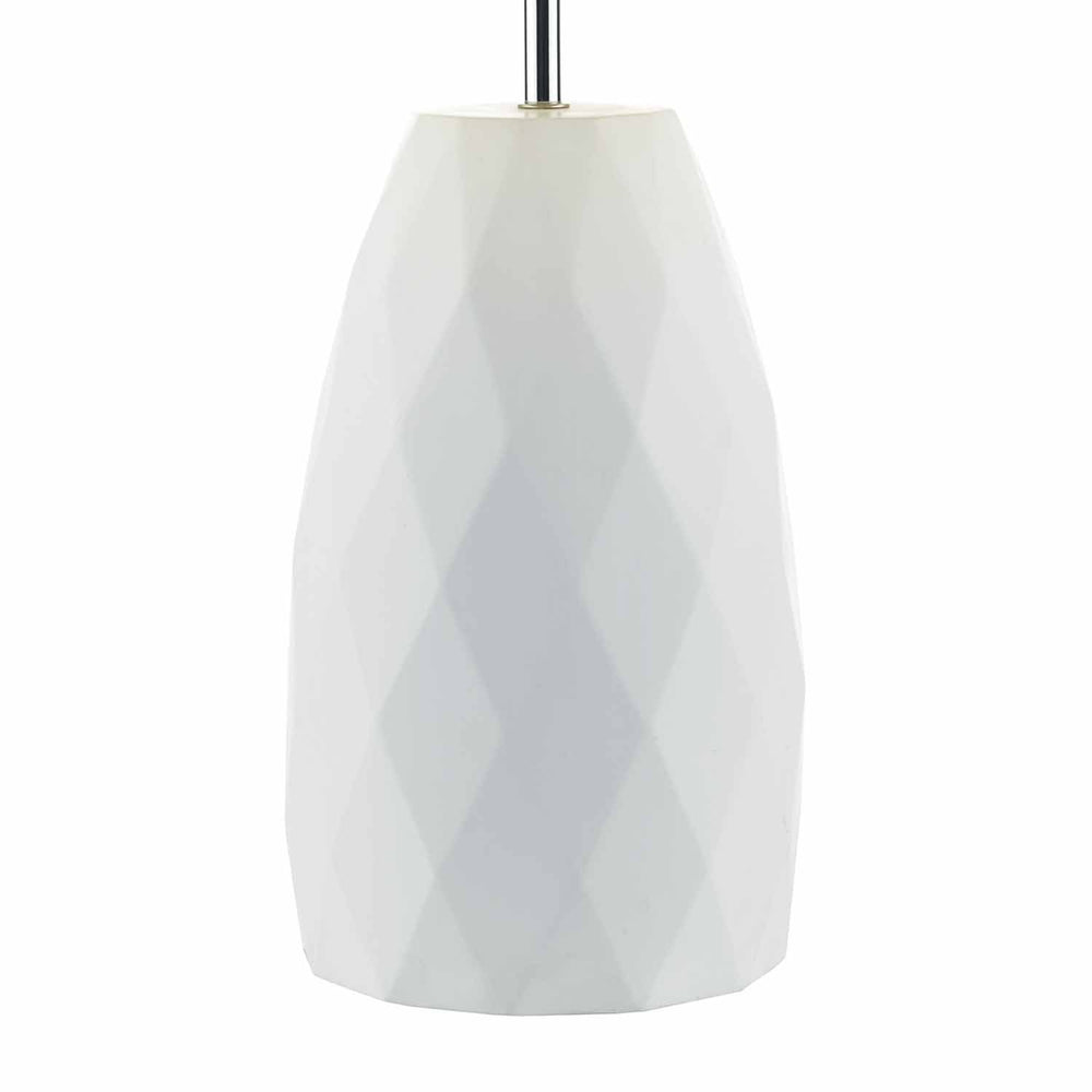 WHITE GEOMETRIC PATTERN TABLE LAMP W SHADE
