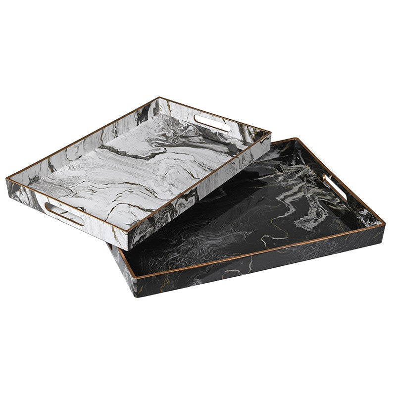 MARBLE EFFECT TRAY PAIR