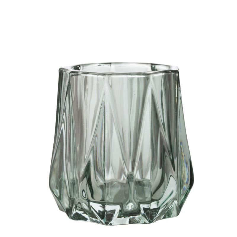 AMINE CUT GLASS VOTIVE FAIR GREEN