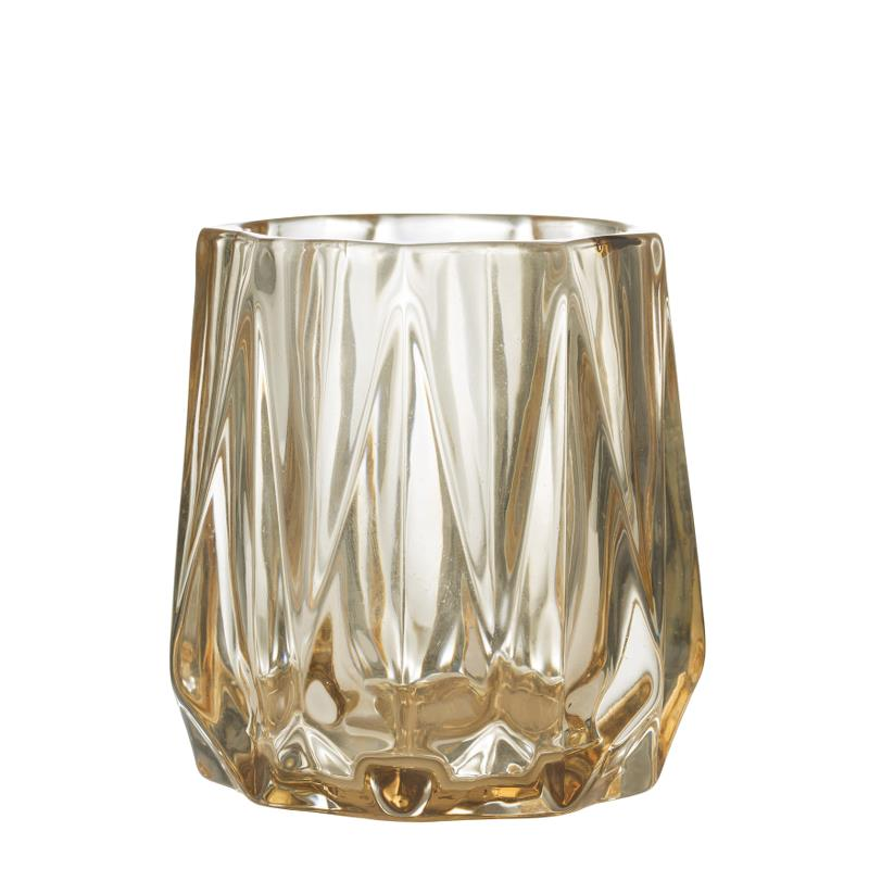 AMINE PALE AMBER CUT GLASS VOTIVE