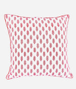 HAND BLOCK PRINT JAIPUR RED PIPED CUSHION COVER