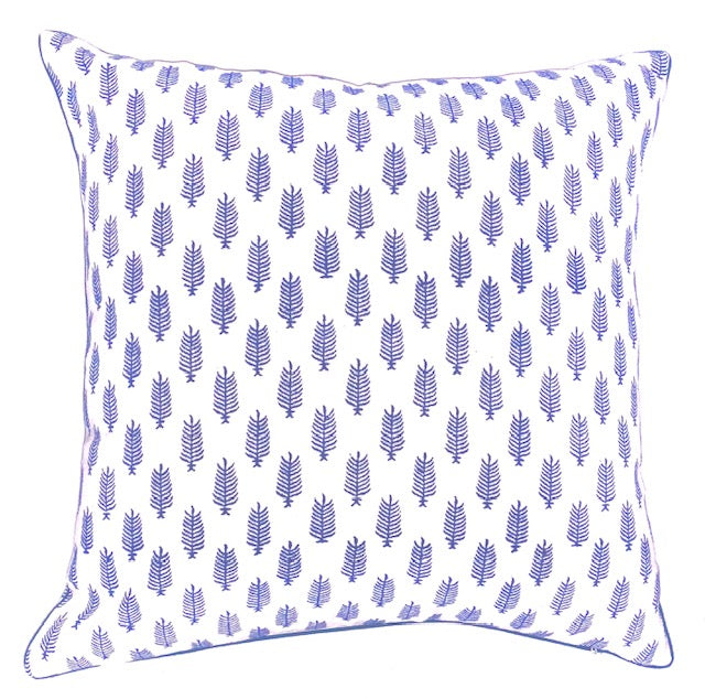 HAND BLOCK PRINT INDIGO BLUE PIPED CUSHION COVER