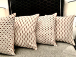 HAND BLOCK PRINT EARTHY BROWN PIPED CUSHION COVER