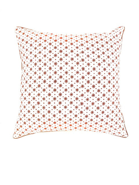 HAND BLOCK PRINT EARTHY BROWN CUSHION COVER - STAR PATTERN